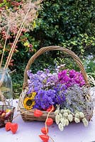 Trug of dried flowers including Statice, sea lavender, Grasses and Chinese lanterns