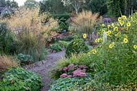 View over beds edged with rocks by gravel paths, planting of ornamental grasses and flowering perennials