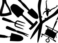 Collection of  garden tools on a white background Secateurs, garden Sieve seed dibber fork loppers and hand Trowels
