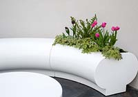 Tulipa 'Queen of Night' and geraniums planted within a modern curved white plastic bench seating area set against a garden hedge. Hidden Gems of Worcestershire garden, RHS Malvern Spring Festival, 2016. Design: Nikki Hollier