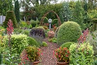 Small formal country garden in September