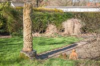The shadow of the Meridian column at midday in mid-February in the Meridian Garden, Llanllyr.