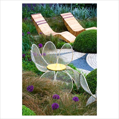 Photos - Garden & Plant Picture Library - Funky metal 'petal' chairs