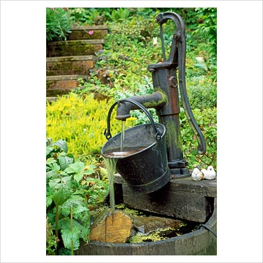 Old fashioned water pump fountains 24